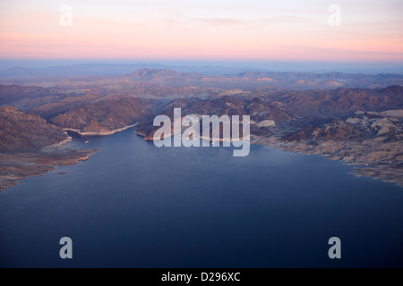 flying over lake mead virgin basin and southern nevada USA - Stock Photo
