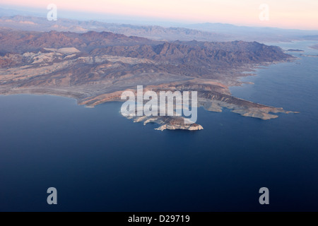 flying over crescent cove lake mead virgin basin and southern nevada USA - Stock Photo