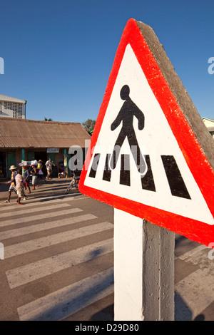 Madagascar, Morondava, town centre, road, safety, pedestrian crossing sign - Stock Photo