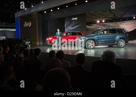 Michael Manley, introduces Jeep Grand Cherokee models in 2013. Manley was appointed CEO of Fiat Chrysler Automobiles - Stock Photo
