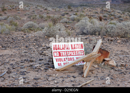 sign at the base of the grand canyon marking edge of the hualapai nation territory Arizona USA - Stock Photo