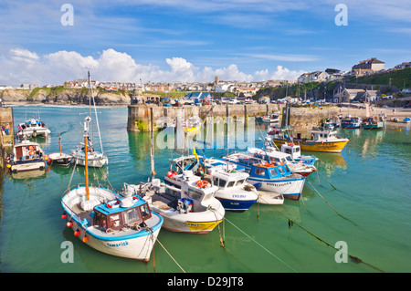 Fishing Boats moored in the harbour, Newquay, Cornwall, England, GB, UK, EU, Europe - Stock Photo