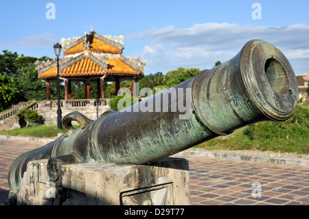 Cannon in the Royal Imperial Citadel, Hue, Vietnam - Stock Photo