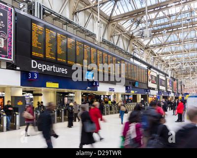Waterloo station, London, England, UK - Stock Photo