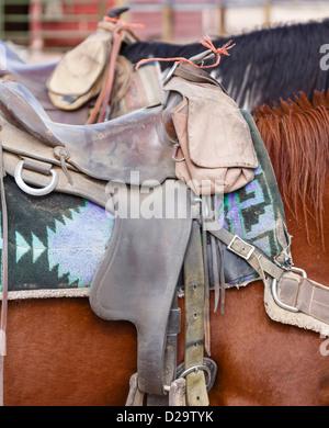 Closeup of western US style horse tack and saddle - Stock Photo