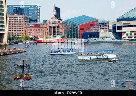 Baltimore Harbor, Lightship Chesapeake, Maryland, National Aquarium, Uss Torsk Submarine, Water Taxis - Stock Photo