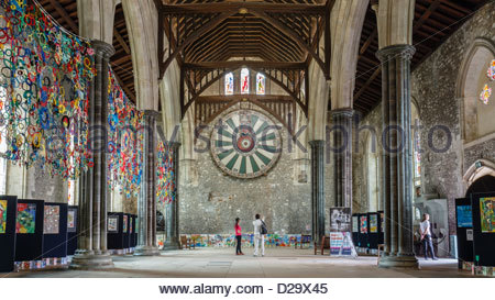 King Arthurs Round Table and the Great Hall in Winchester, Hampshire, England - Stock Photo