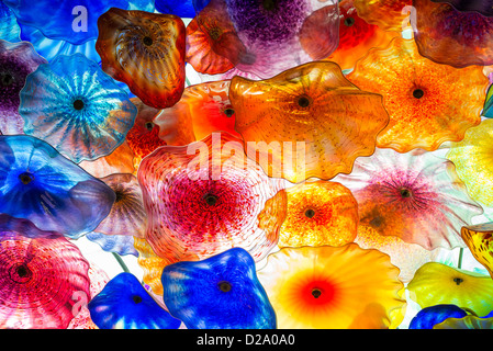 The fantastic ceiling glass sculpture of the Bellagio from world renowned artist, Dale Chihuly. - Stock Photo