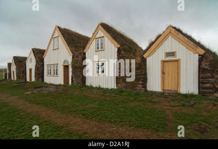 traditional turf houses at the Glaumbaer Farm in Skagafjordur, northern Iceland - Stock Photo