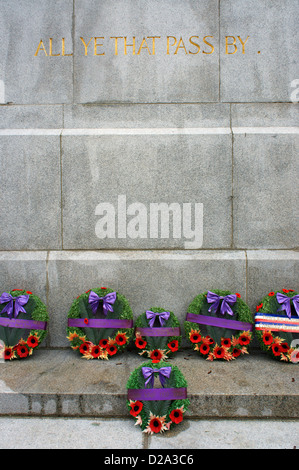 Remembrance Day wreathes at the base of the Victory Square Cenotaph in Victory Square,, Vancouver, British Columbia, - Stock Photo