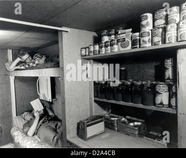 Fallout Shelter With Provisions Circa 1957 - Stock Photo