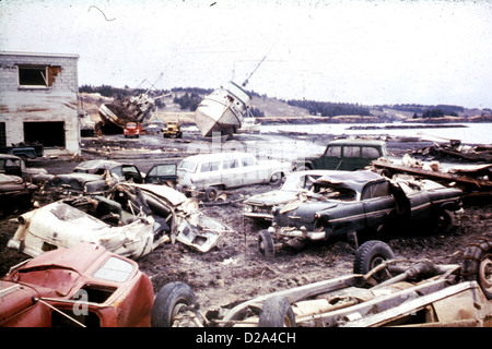 Alaska Earthquake March 27, 1964. Tsunami Damage Along The Waterfront At Kodiak. 1964. - Stock Photo