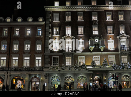 Fortnam and Mason Piccadilly Christmas lights and decorations London England UK - Stock Photo