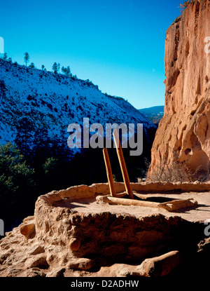 New Mexico. Bandelier National Monument. Anasazi Kiva, With Top Of Ladder Showing - Stock Photo