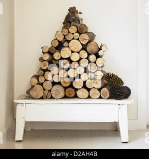Pile of firewood on bench - Stock Photo