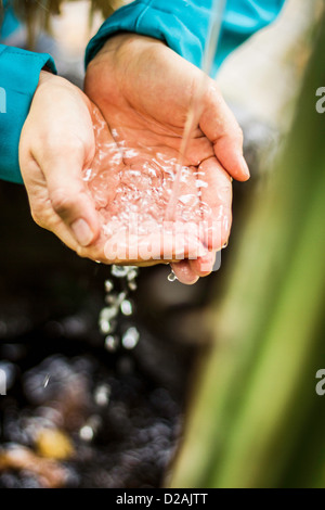 Woman catching water stream in hands - Stock Photo