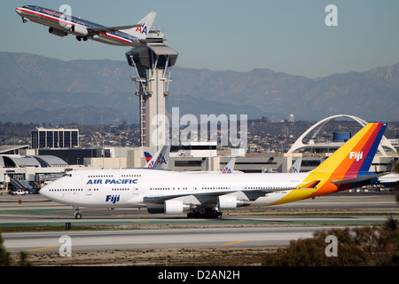 LOS ANGELES, CALIFORNIA, USA - JANUARY 15, 2013 - Air Pacific Fiji Boeing 747-412 takes off at Los Angeles Airport - Stock Photo