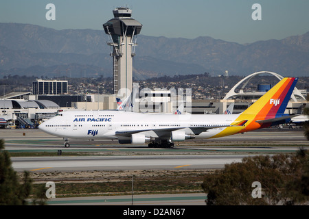 LOS ANGELES, CALIFORNIA, USA - JANUARY 15, 2013 - Air Pacific Fiji Boeing 747-412 takes off from Los Angeles Airport - Stock Photo