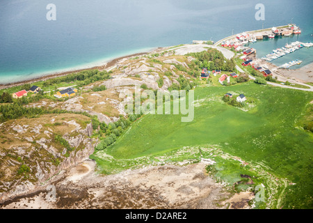 Aerial view of rural coastline - Stock Photo