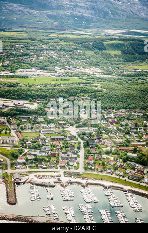Aerial view of village and harbor - Stock Photo