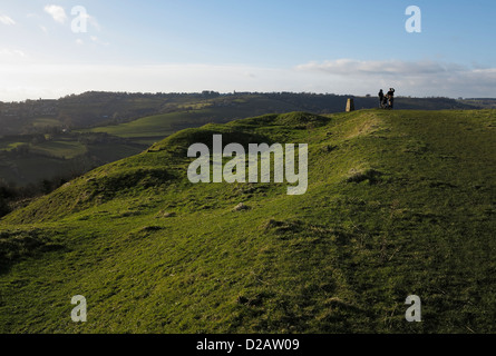 south end of Iron Age fort on Little Solsbury Hill Batheaston Bath Somerset England UK with Ordnance Survey triangulation - Stock Photo