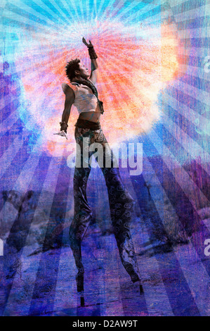 Embody your highest Self. Man on stilts surrounded by rays. - Stock Photo
