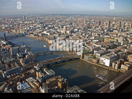 The View from The Shard, including St. Paul's Cathedral, Southwark Bridge and Blackfriars Bridge, London, England, - Stock Photo