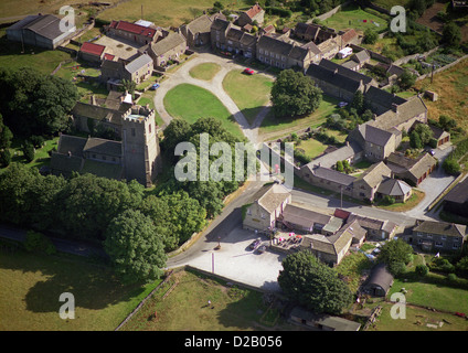 aerial view of Kirby Hill village near Richmond, North Yorkshire - Stock Photo