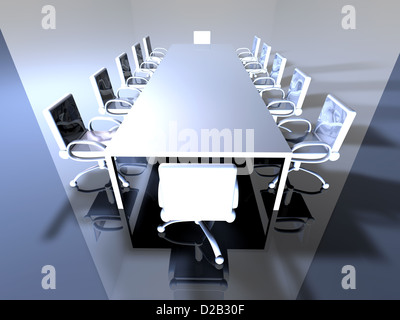 3D rendered Boardroom. Surreal metal Interior. - Stock Photo