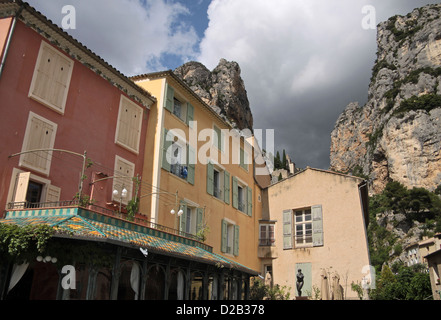 The village of Moustiers-Sainte-Marie in Haute-Provence, France - Stock Photo