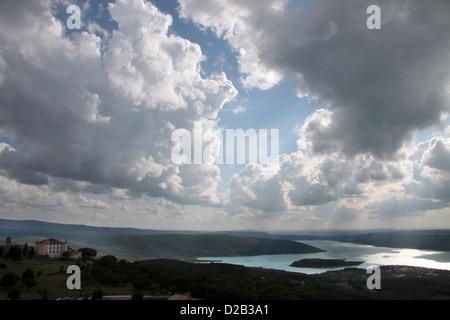 The reservoir Lac de Sainte-Croix at Aiguines in Provence, France - Stock Photo