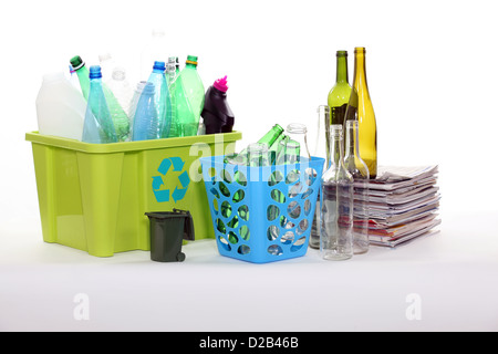 Recycling bottles and magazines - Stock Photo