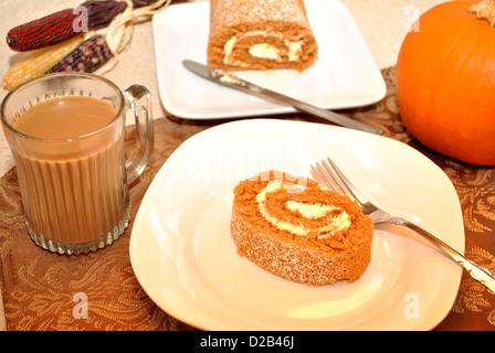 Delicious Pumpkin Swiss Roll - Stock Photo