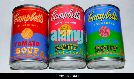 Trio of limited edition Warhol Soup Cans (Tins) Campbell's Tomato - Stock Photo