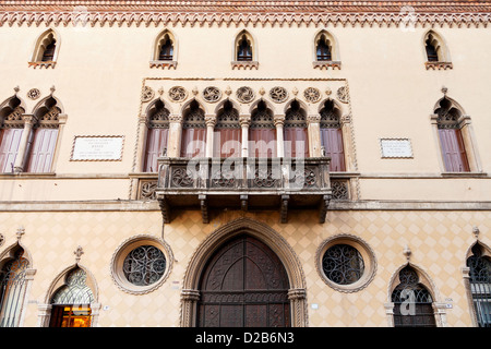 facade of historical house in Padua, Italy - Stock Photo