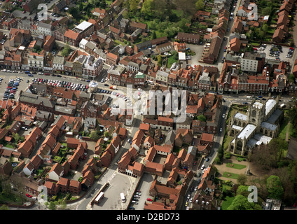 aerial view of Beverley town centre with the Market Cross, Market Square and St Mary's Church - Stock Photo