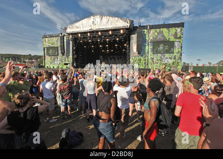 crown in front of main stage at BESTIVAL FESTIVAL, ISLE OF WHITE, SEPTEMBER 2012 - Stock Photo