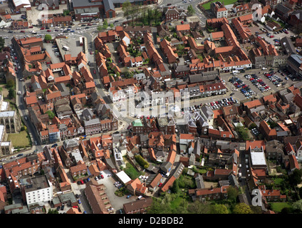 aerial view of Beverley town centre with the Market Cross and Market Square - Stock Photo