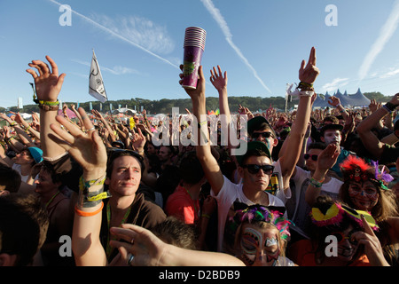 crowd in front of main stage at BESTIVAL FESTIVAL, ISLE OF WHITE, SEPTEMBER 2012 - Stock Photo
