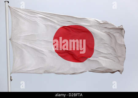 Iffezheim, Germany, the national flag of Japan waving in the wind - Stock Photo