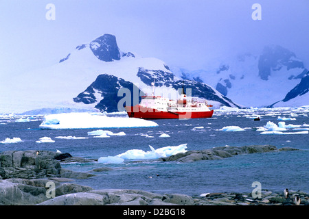 Antarctica, Petermann Island. Ice Breaker Ship - Stock Photo