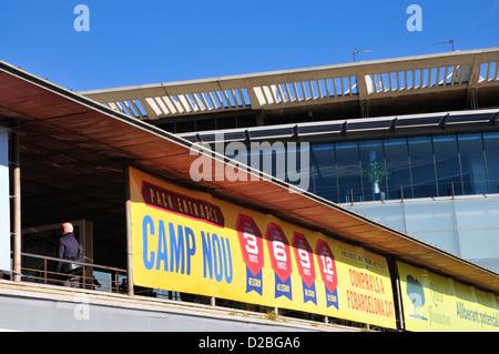 Barcelona, Catalonia, Spain. Camp Nou football stadium (1957) home of F C Barcelona - poster with season ticket - Stock Photo
