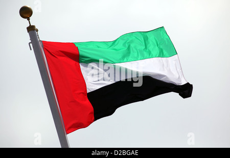 Hong Kong, China, the UAE national flag waving in the wind - Stock Photo