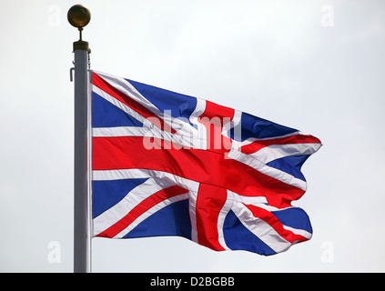 Hong Kong, China, National Flag of Great Britain waving in the wind - Stock Photo