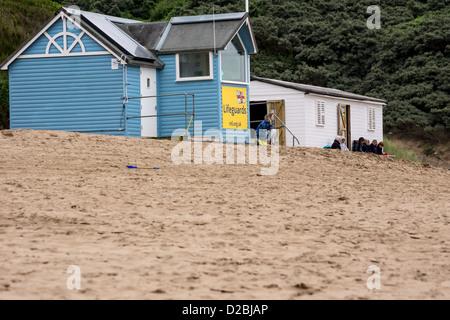 Lifeguards on Woolacombe beach - Stock Photo