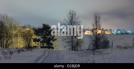 Evening winter landscape in vicinities of a country town - Stock Photo