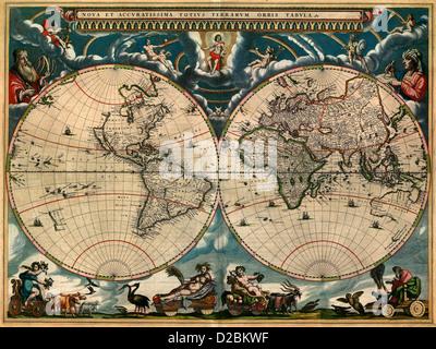 New and accurate picture of the whole world, circa 1664 Nova et accuratissima totius terrarum orbis tabula1664 - Stock Photo