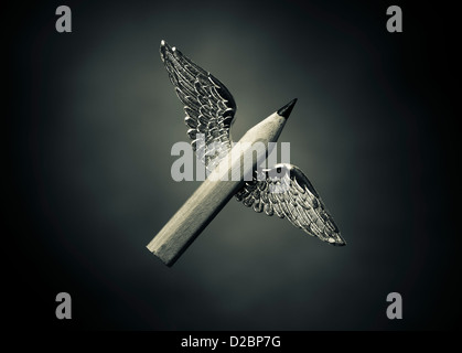 Winged words - Concept of creative writing. A short pencil with wings. - Stock Photo