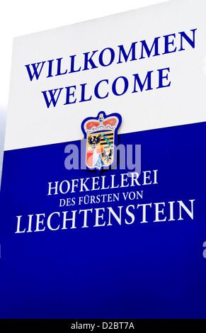Welcome Sign To Hofkellerei Winery In Liechtenstein - Stock Photo