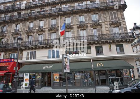 McDonalds opposite Gare Du Nord in Paris France - Stock Photo
